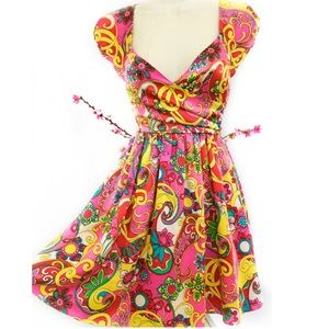 Vintage BETSEY JOHNSON Psychedelic Mini Dress 0